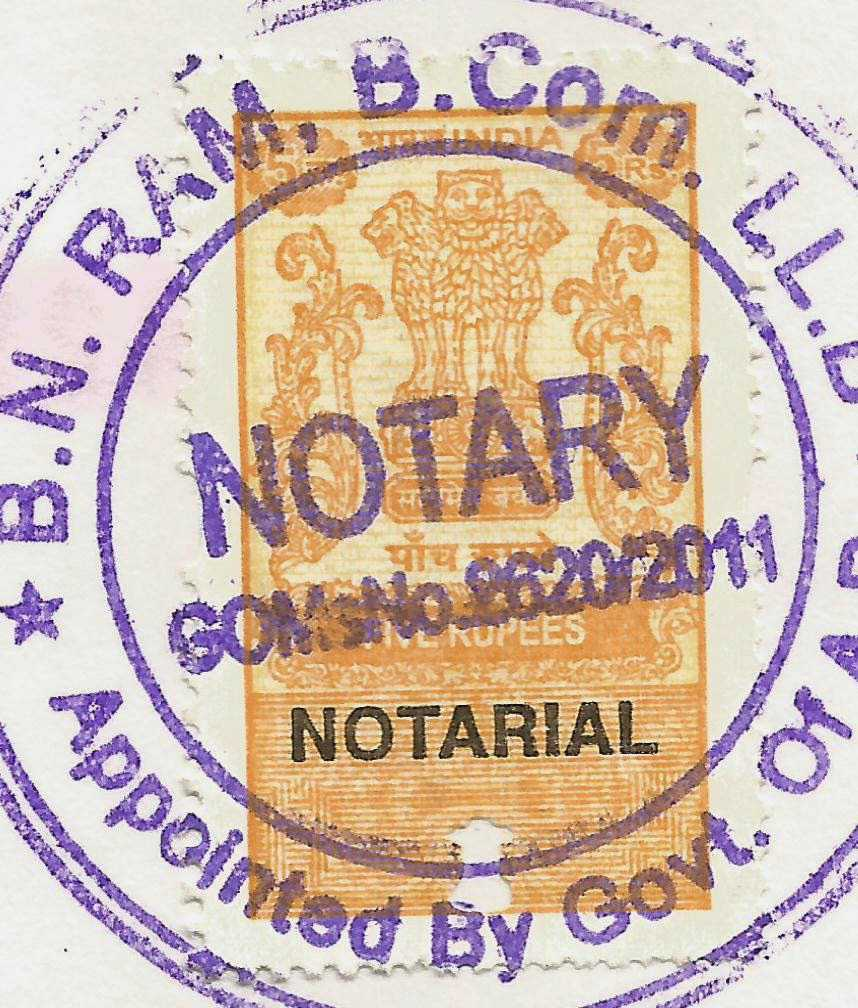 Notary Stamp from Hyderabad Telangana